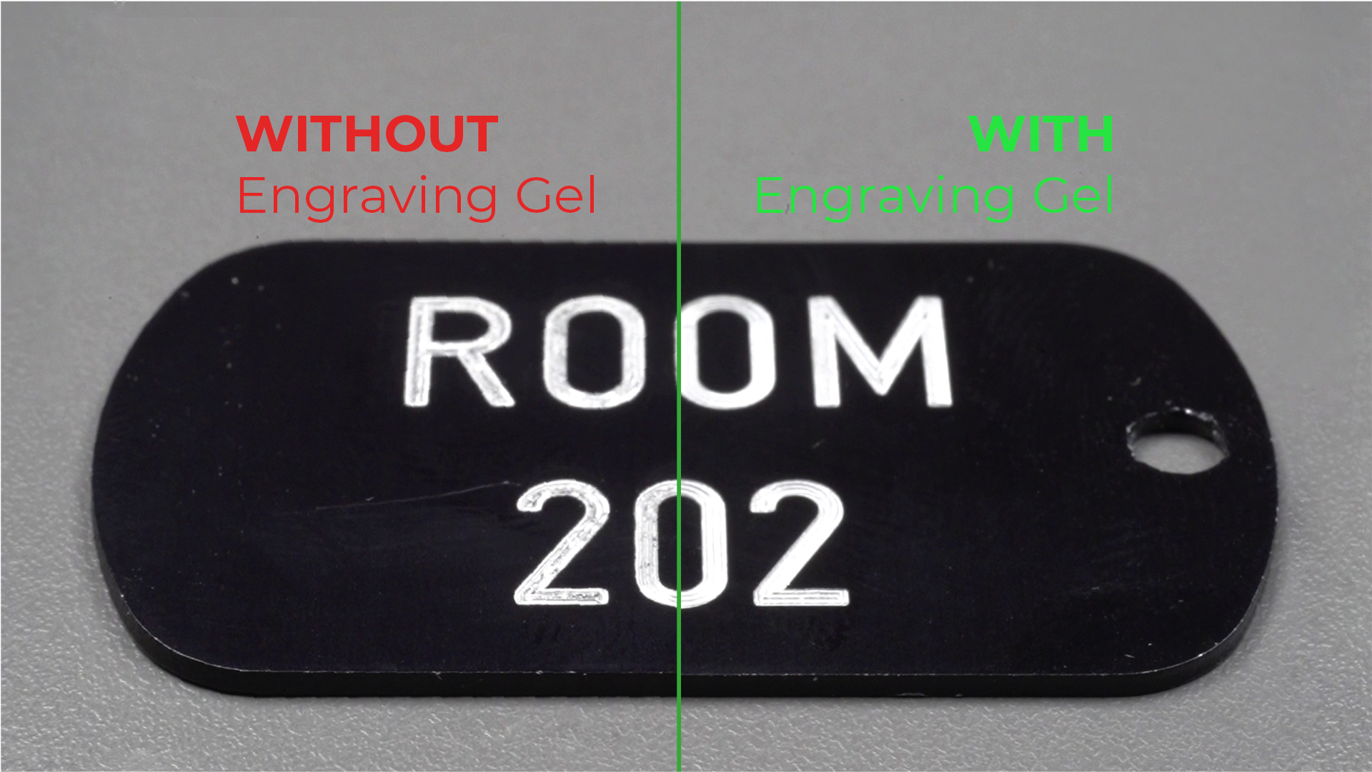Engraving-gel comparison of with and without